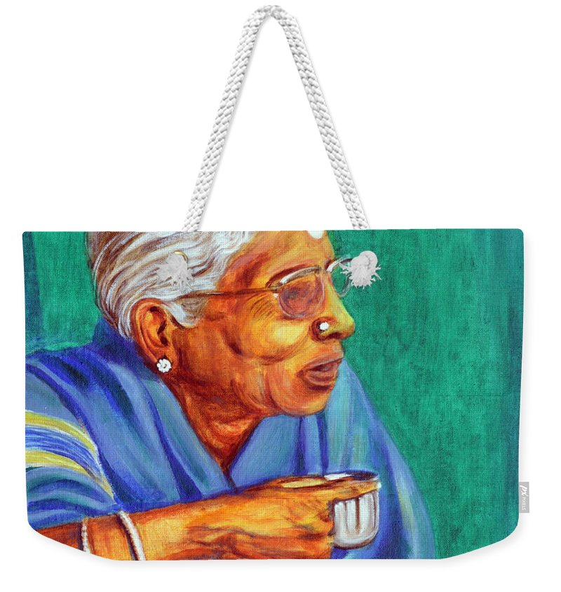 Usha Weekender Tote Bag featuring the painting Golden Age 2 by Usha Shantharam