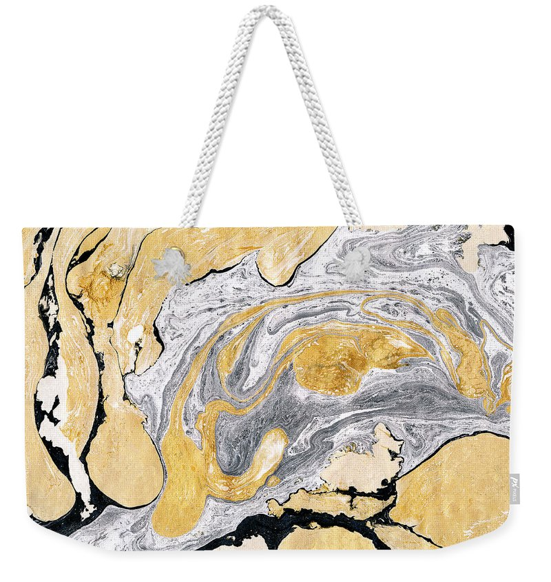 Material Weekender Tote Bag featuring the digital art Golden And Silver Marble Background by Asya mix