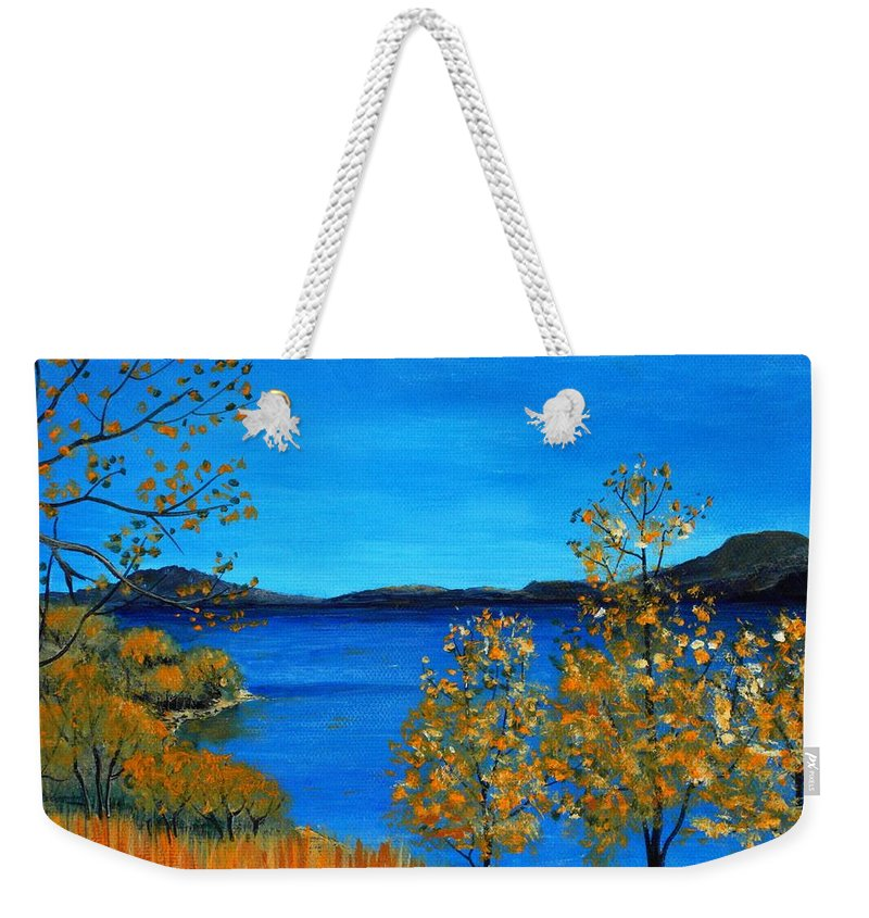 Malakhova Weekender Tote Bag featuring the painting Golden Autumn by Anastasiya Malakhova