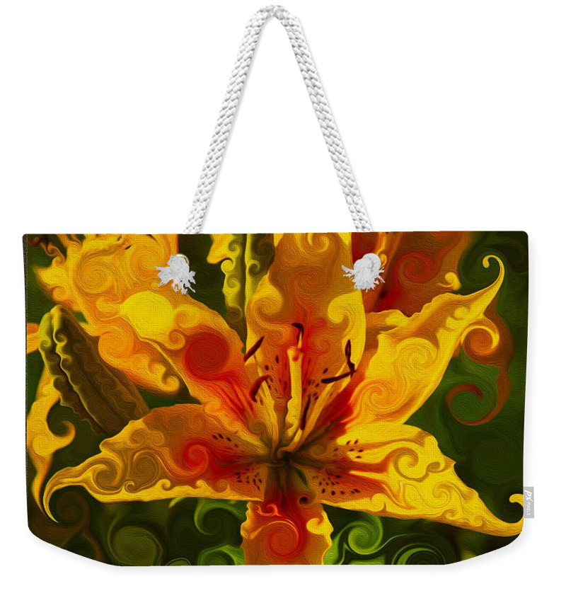Day Lily Weekender Tote Bag featuring the painting Golden Beauties by Omaste Witkowski