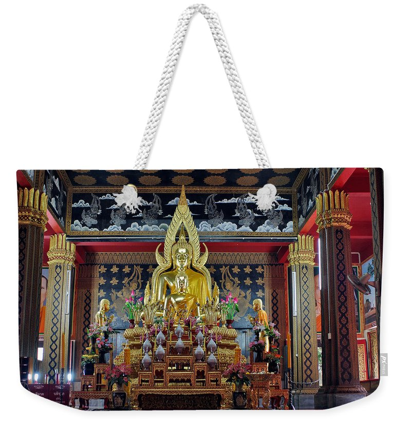 3scape Weekender Tote Bag featuring the photograph Golden Buddha by Adam Romanowicz