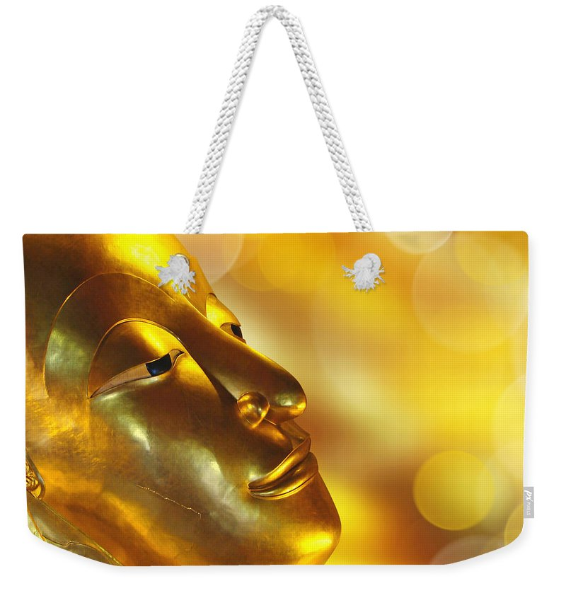 Buddha Weekender Tote Bag featuring the photograph Golden Buddha by Delphimages Photo Creations