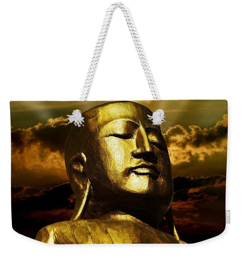 Figur Weekender Tote Bag featuring the photograph Golden Buddha by Joachim G Pinkawa