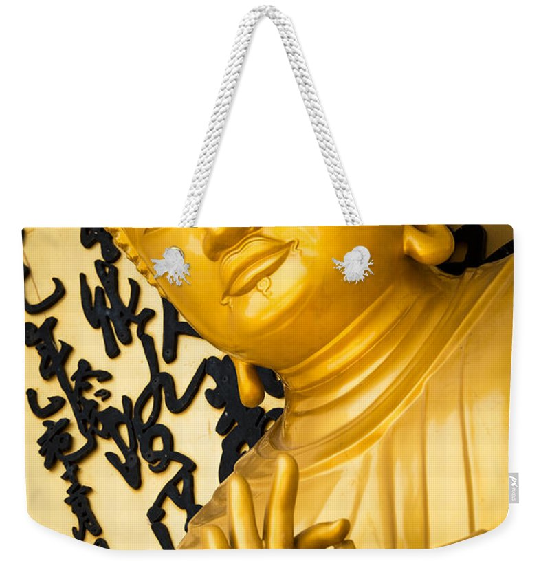 Buddha Weekender Tote Bag featuring the photograph Golden Buddha Statue by Dutourdumonde Photography