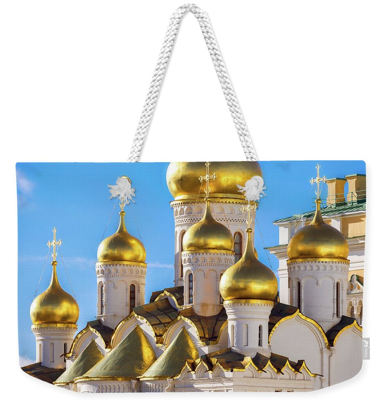 Annunciation Weekender Tote Bag featuring the photograph Golden Domes Of The Russian Church by Mordolff