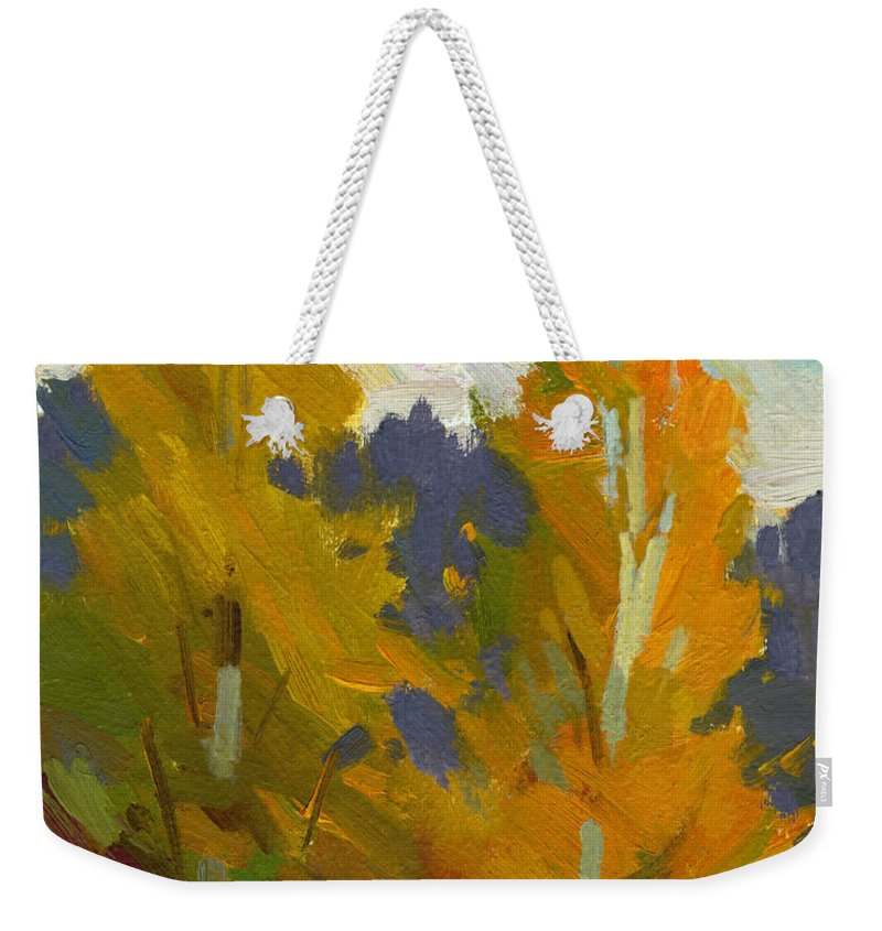 Golden Weekender Tote Bag featuring the painting Golden Fall by Diane McClary
