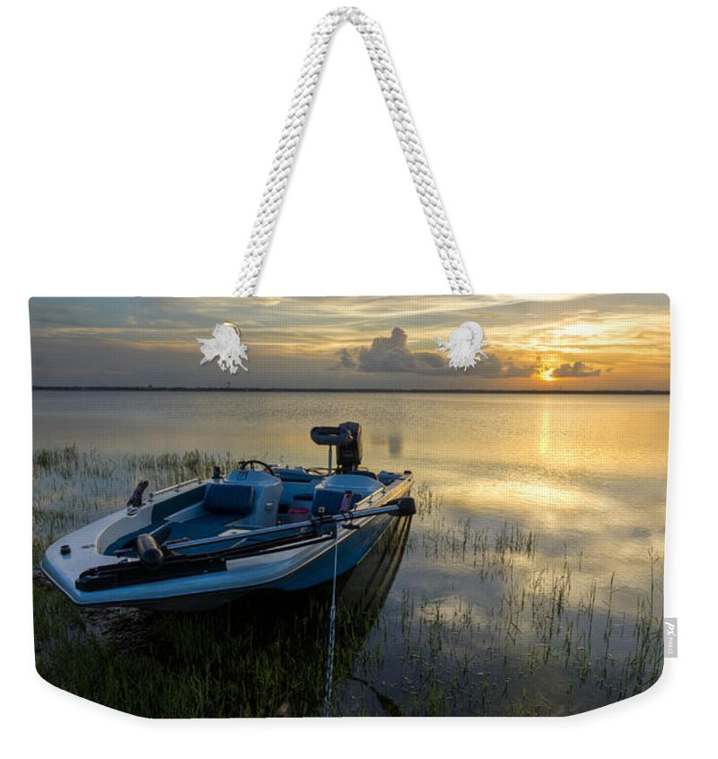 Boats Weekender Tote Bag featuring the photograph Golden Fishing Hour by Debra and Dave Vanderlaan