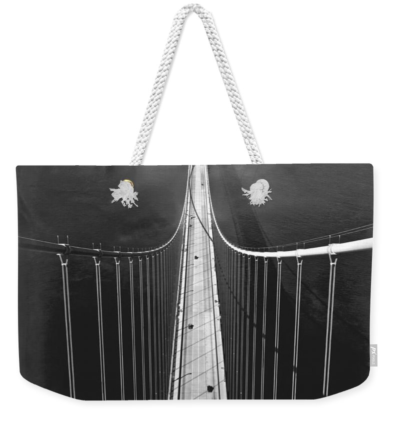 1930's Weekender Tote Bag featuring the photograph Golden Gate Bridge In 1937 by Underwood Archives