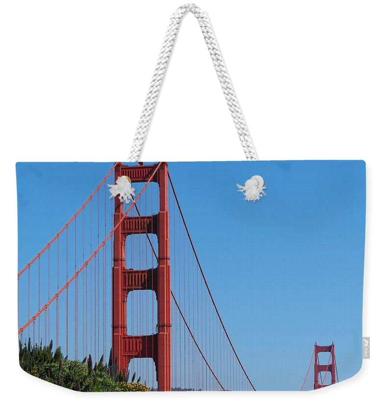 San Francisco Weekender Tote Bag featuring the photograph Golden Gate Bridge In Spring by Michele Myers