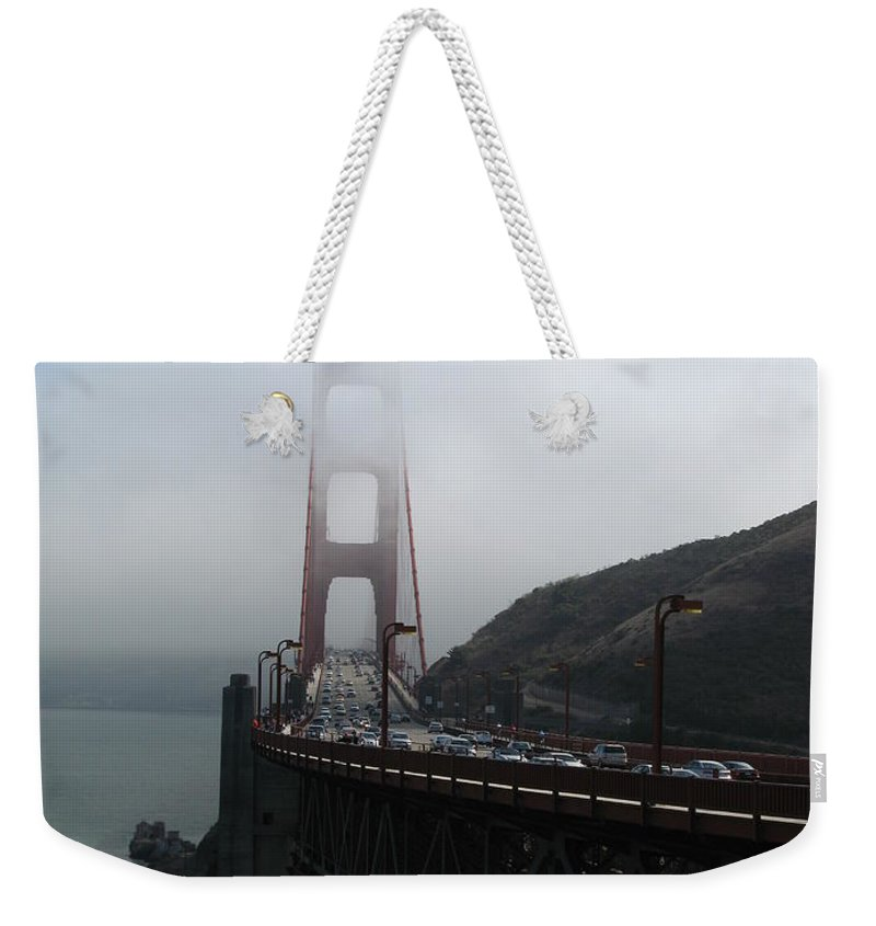 Bridge Weekender Tote Bag featuring the photograph Golden Gate Bridge Pylons In A Mist by Christiane Schulze Art And Photography
