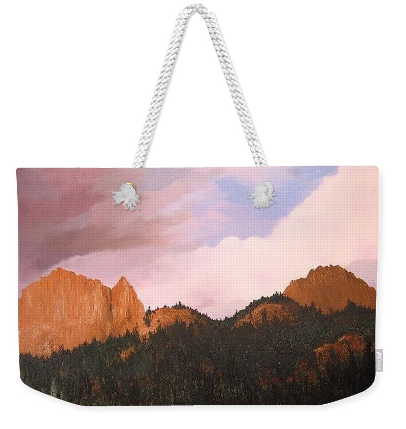 Mountains Weekender Tote Bag featuring the painting Golden Gate by Hunter Jay