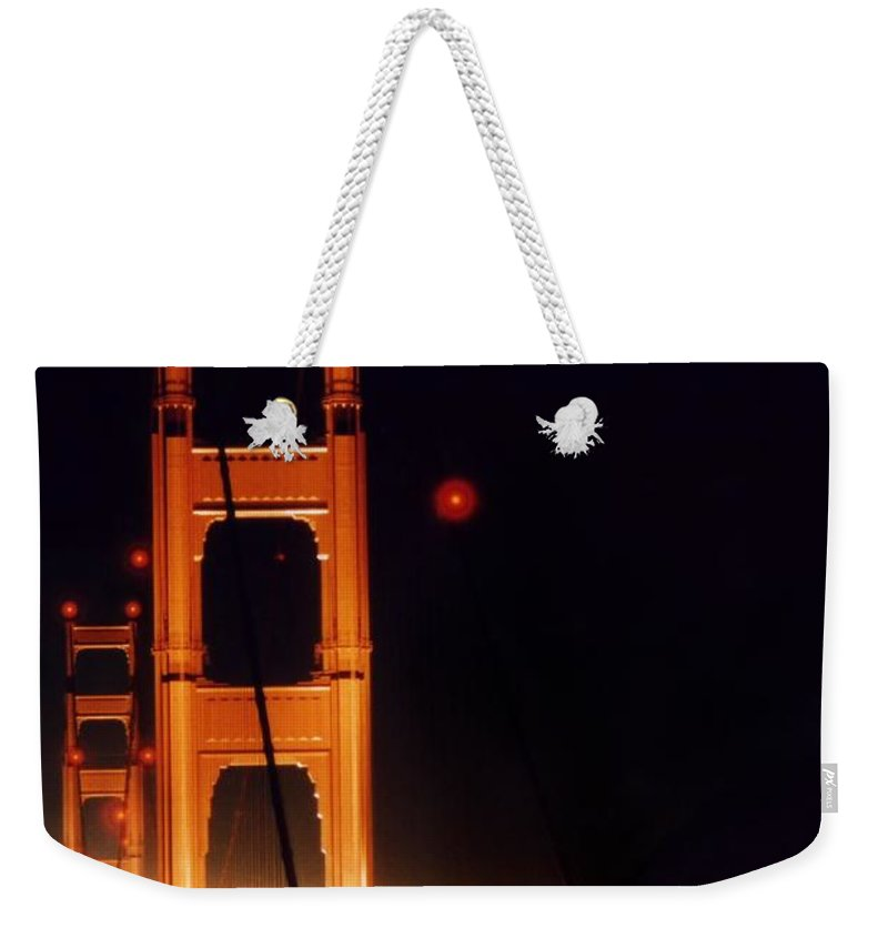 Bridge Weekender Tote Bag featuring the photograph Golden Gate Night by DJ Florek
