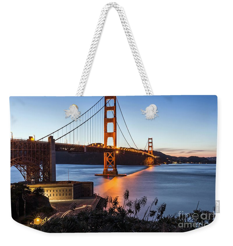 Golden Gate Bridge Weekender Tote Bag featuring the photograph Golden Gate Night by Kate Brown
