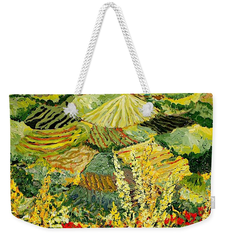 Landscape Weekender Tote Bag featuring the painting Golden Hedge by Allan P Friedlander