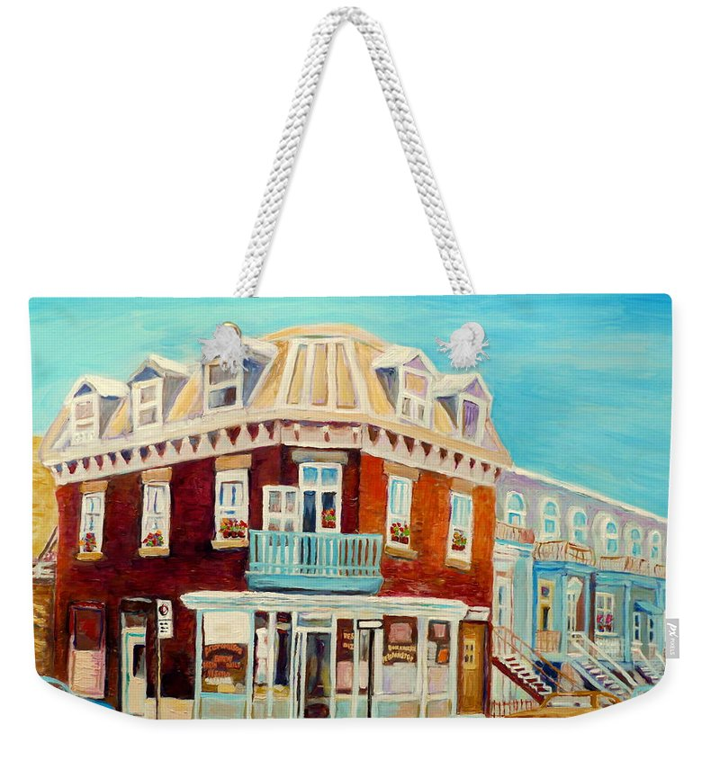 Bakeries Weekender Tote Bag featuring the painting Golden Homemade Baked Goods by Carole Spandau