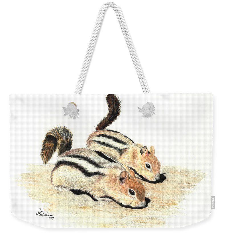 Nature Weekender Tote Bag featuring the painting Golden-mantled Ground Squirrels by Lynn Quinn