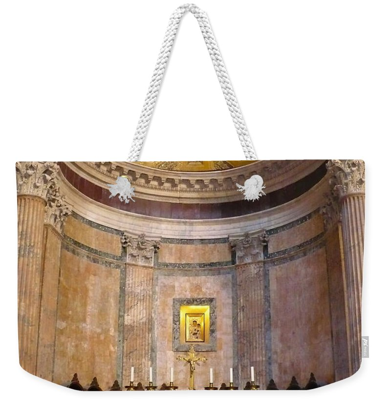 Pantheon Weekender Tote Bag featuring the photograph Golden Pantheon Altar by Carol Groenen
