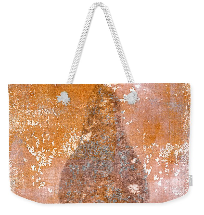Pear Weekender Tote Bag featuring the painting Golden Pear Pink Monoprint by Carol Leigh