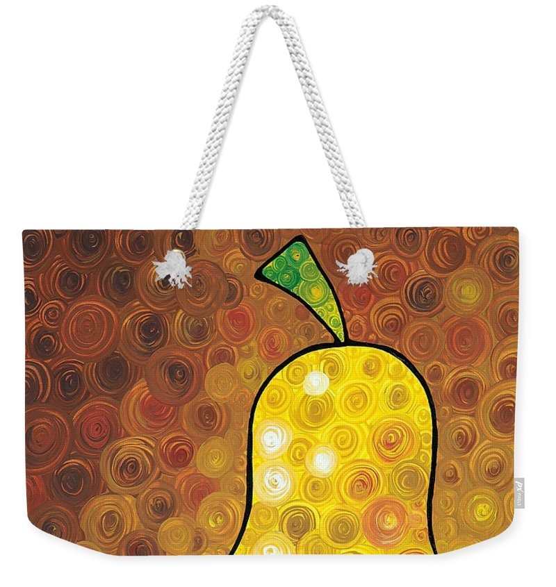 Pear Weekender Tote Bag featuring the painting Golden Pear by Sharon Cummings