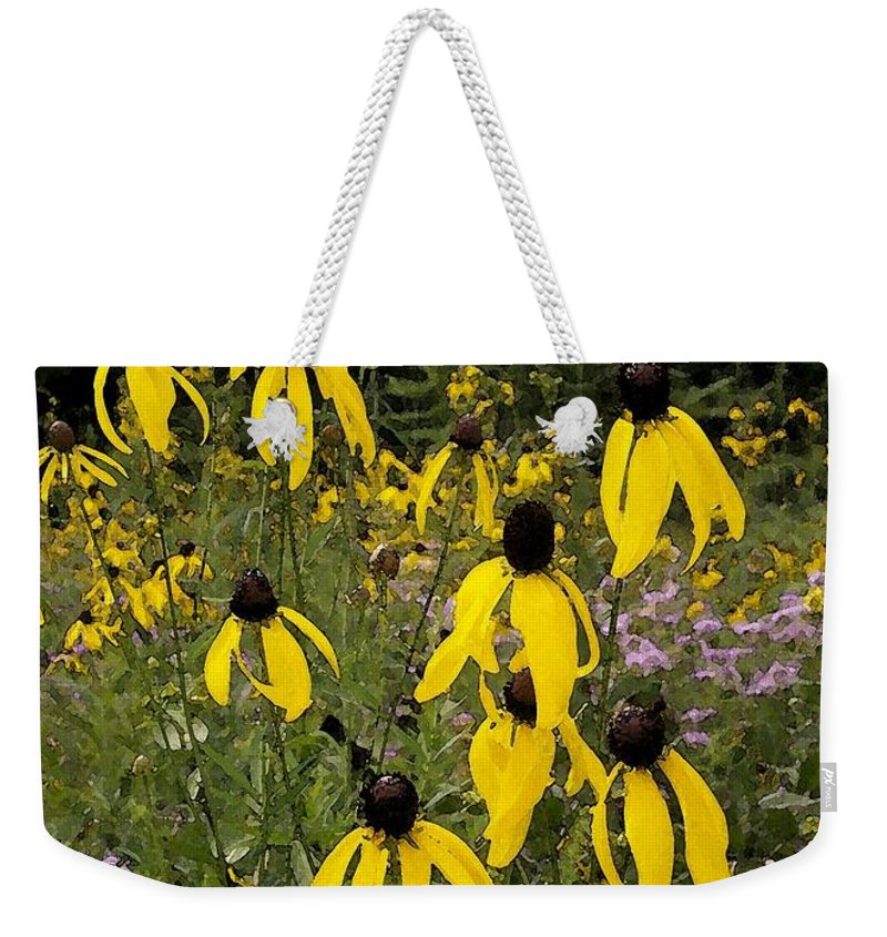 Golden Prairie Coneflower Weekender Tote Bag featuring the photograph Golden Prairie Coneflower Watercolor Effect by Laurie Eve Loftin