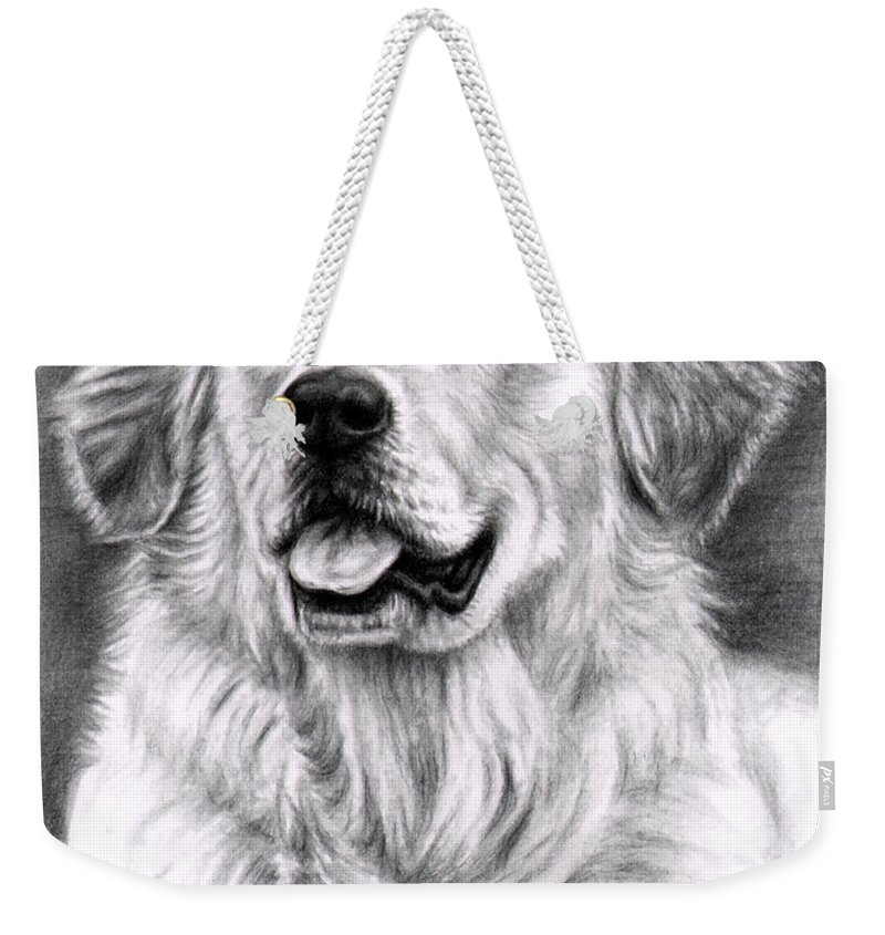 Dog Weekender Tote Bag featuring the drawing Golden Retriever Spence by Nicole Zeug