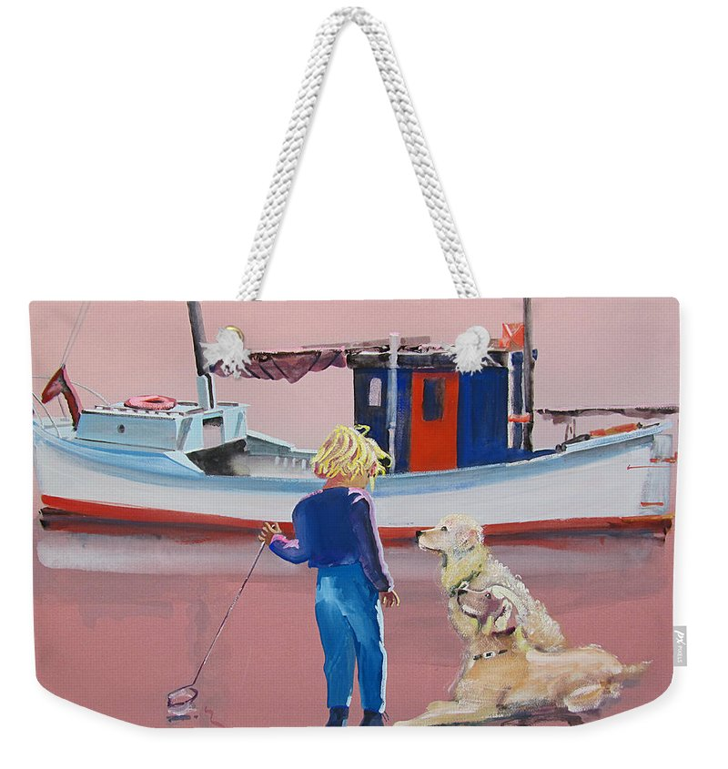 Retriever Weekender Tote Bag featuring the painting Golden Retrievers by Charles Stuart