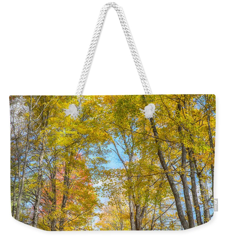 Autumn Weekender Tote Bag featuring the photograph Golden Road by Claudia Kuhn