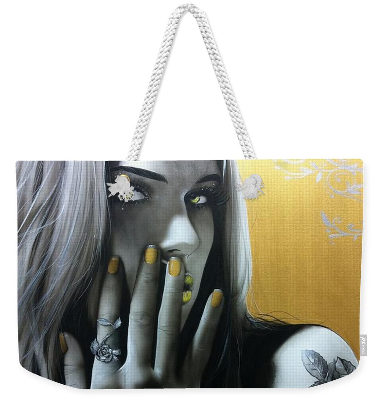 Sugar Skull Weekender Tote Bag featuring the painting Golden Rose by Christian Chapman Art