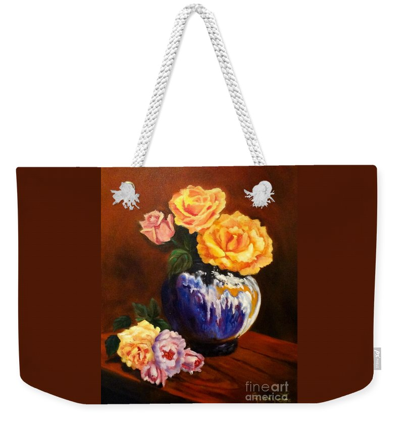 Purple Vase Weekender Tote Bag featuring the painting Golden Roses Jenny Lee Discount by Jenny Lee