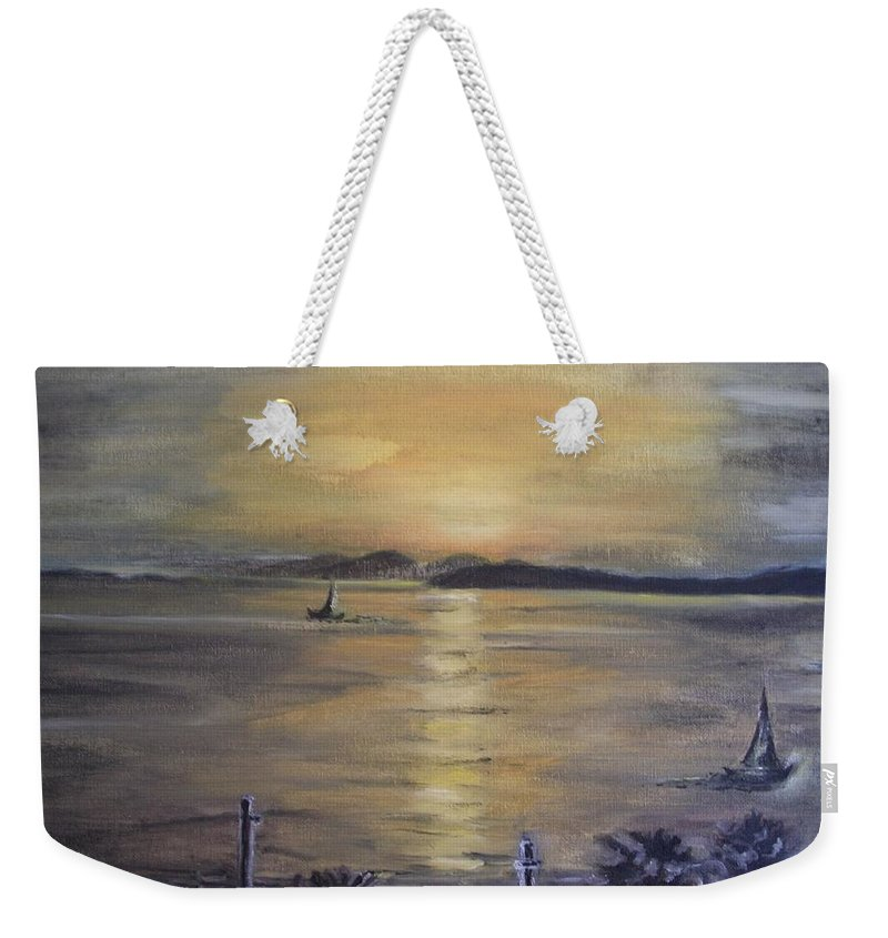 Teresa White Weekender Tote Bag featuring the painting Golden Sea View by Teresa White