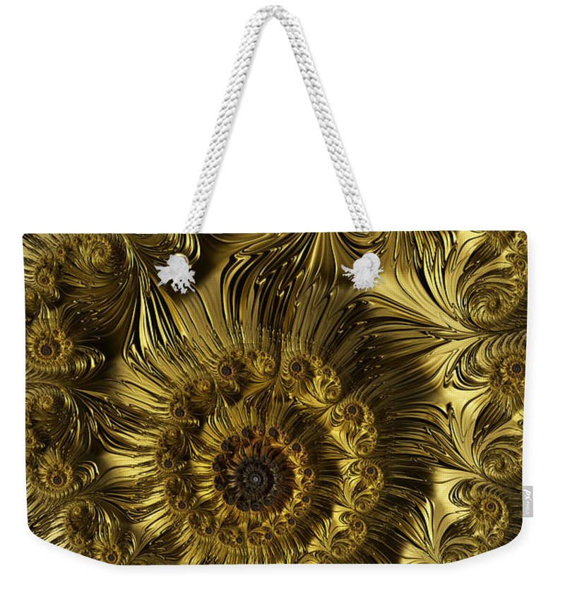 Fractal Weekender Tote Bag featuring the digital art Golden Spiral by Steve Purnell