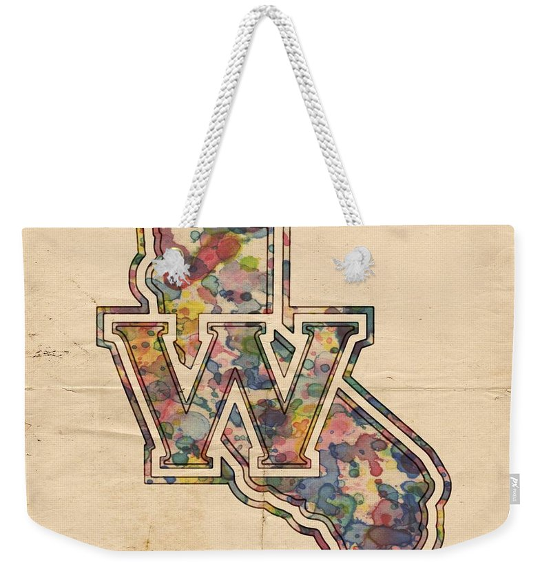 Golden State Warriors Weekender Tote Bag featuring the painting Golden State Warriors Poster Vintage by Florian Rodarte
