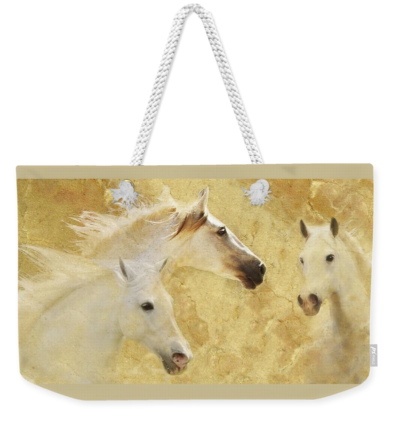 Golden Horses Weekender Tote Bag featuring the photograph Golden Steeds by Melinda Hughes-Berland