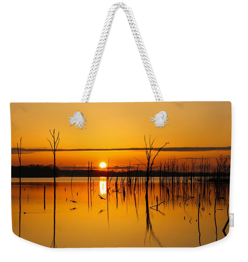 Sunrise Weekender Tote Bag featuring the photograph Golden Sunrise IIi by Roger Becker