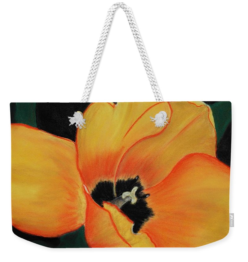 Malakhova Weekender Tote Bag featuring the painting Golden Tulip by Anastasiya Malakhova