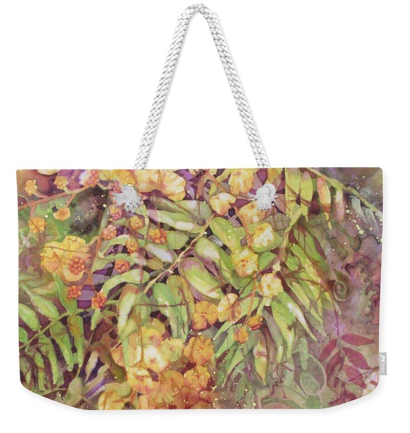 Flower Weekender Tote Bag featuring the painting Golden Wattle by Deborah Younglao