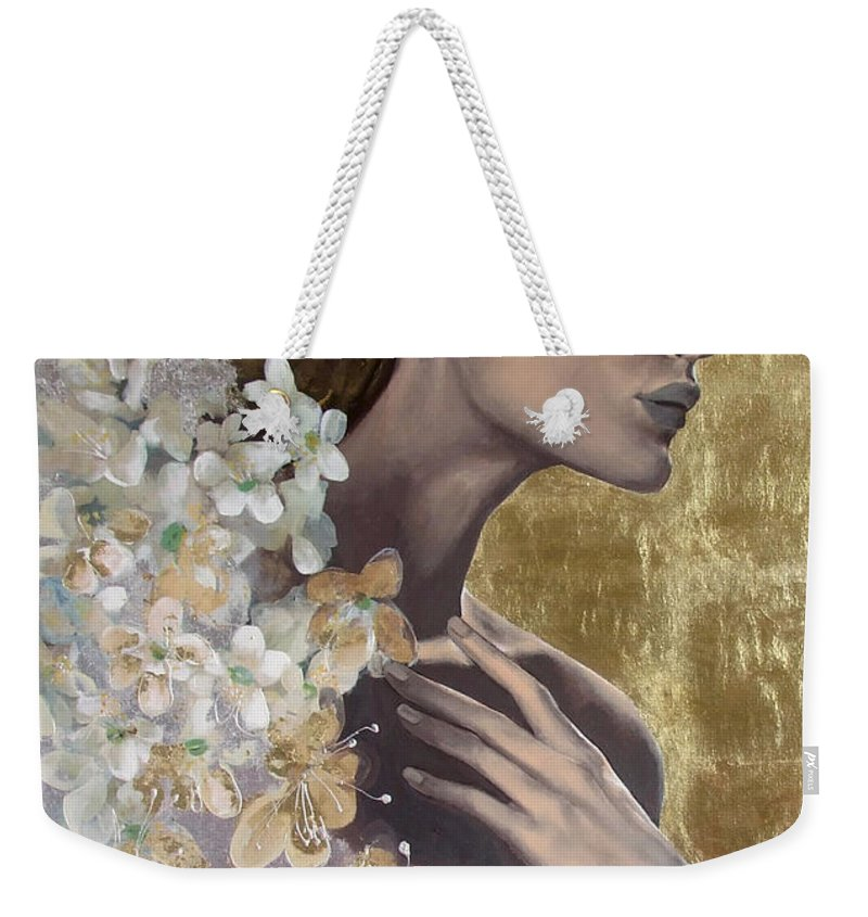 Weekender Tote Bag featuring the painting Golden Wind by Dorina Costras