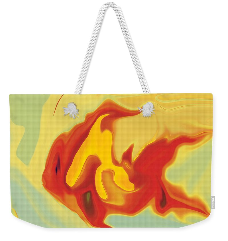 Aquarium Weekender Tote Bag featuring the digital art Goldfish 2 by Rabi Khan