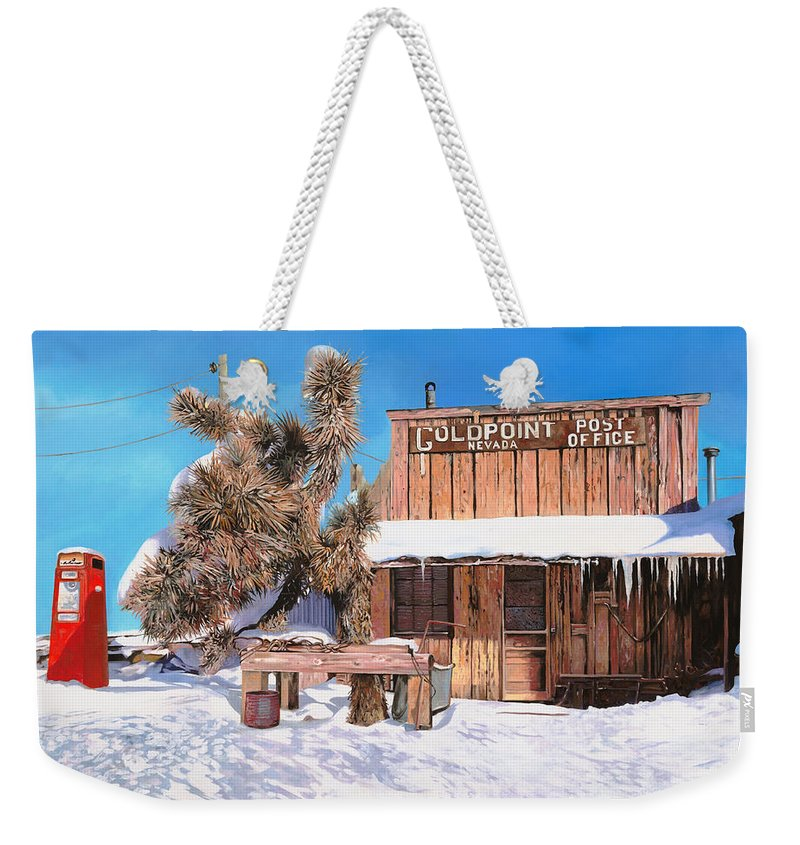 Gold Weekender Tote Bag featuring the painting Goldpoint-nevada by Guido Borelli