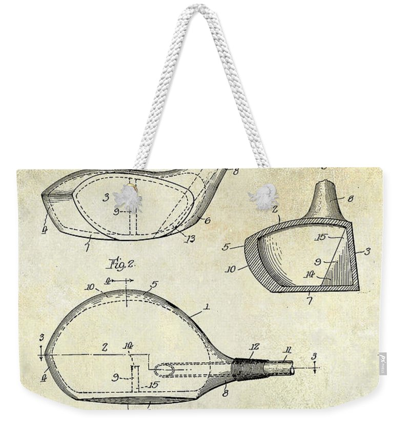 Golf Tee Weekender Tote Bag featuring the photograph 1926 Golf Club Patent Drawing by Jon Neidert