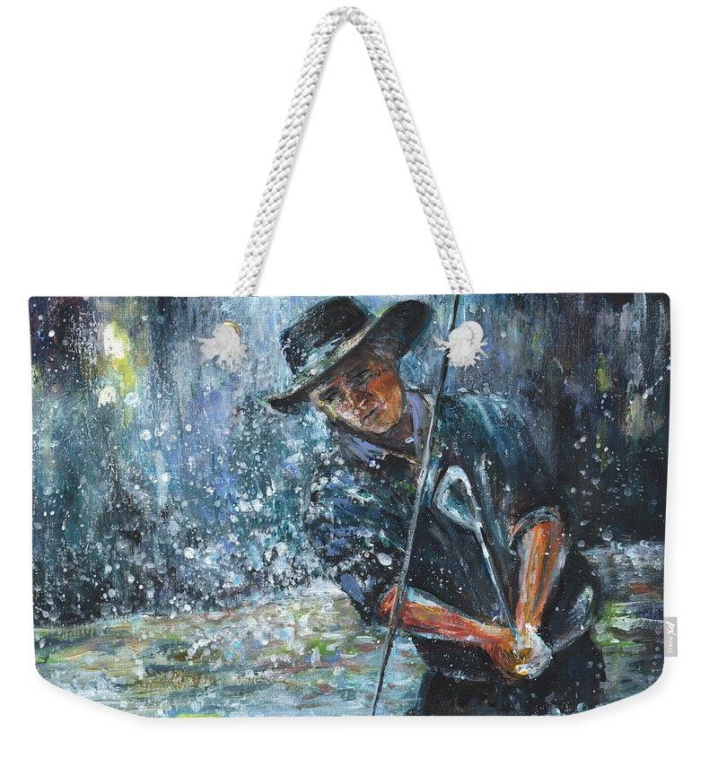 Golf Weekender Tote Bag featuring the painting Golf Delirium Nocturnum 02 by Miki De Goodaboom