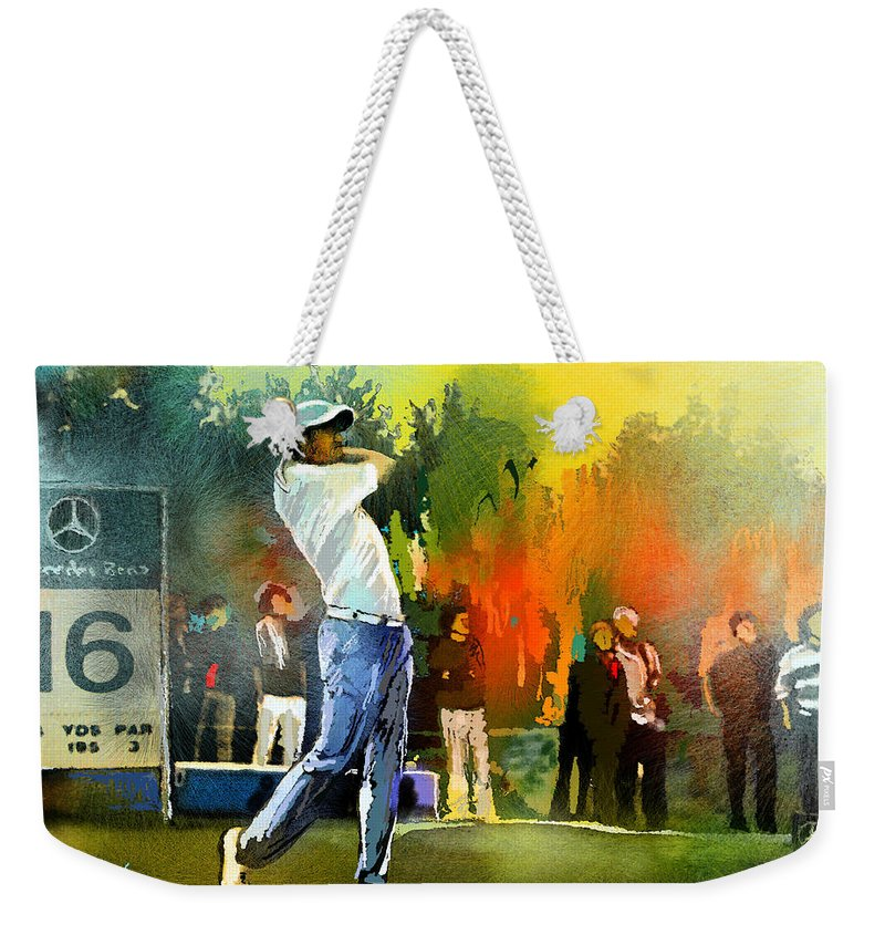 Golf Weekender Tote Bag featuring the painting Golf In Gut Laerchehof Germany 01 by Miki De Goodaboom