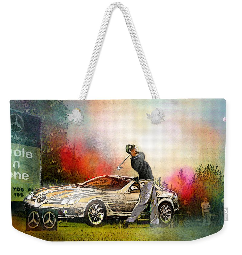 Golf Weekender Tote Bag featuring the painting Golf In Gut Laerchehof Germany 03 by Miki De Goodaboom