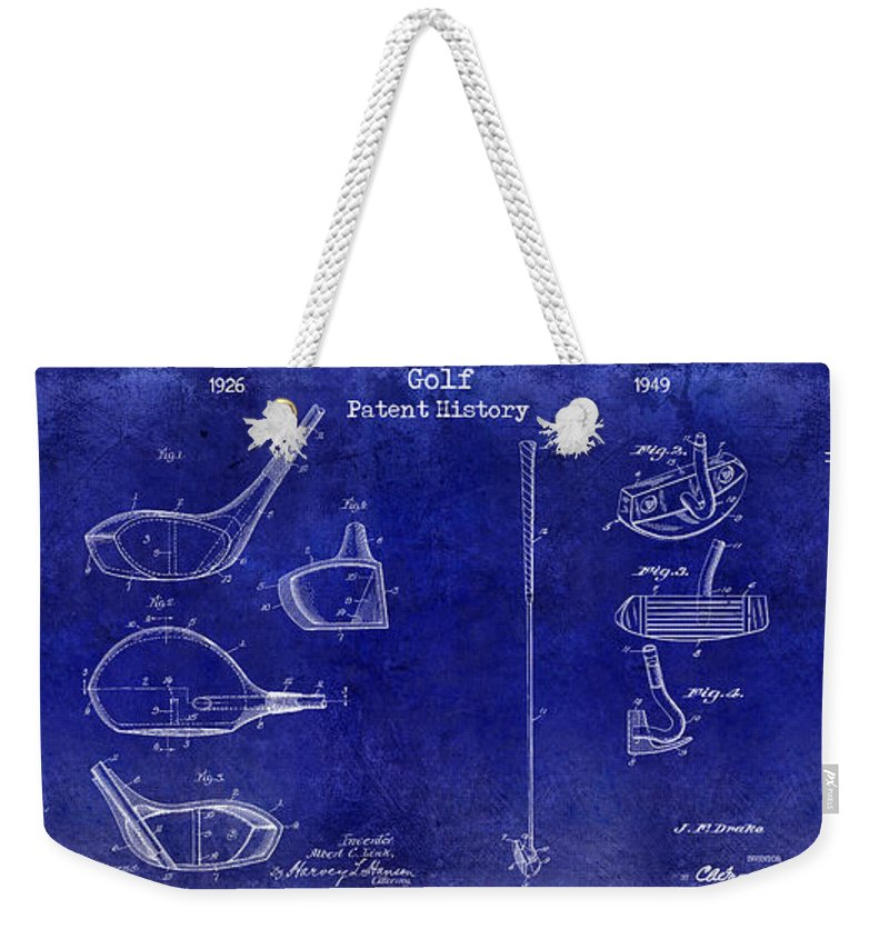 Golf Tee Weekender Tote Bag featuring the photograph Golf Patent History Drawing Blue by Jon Neidert