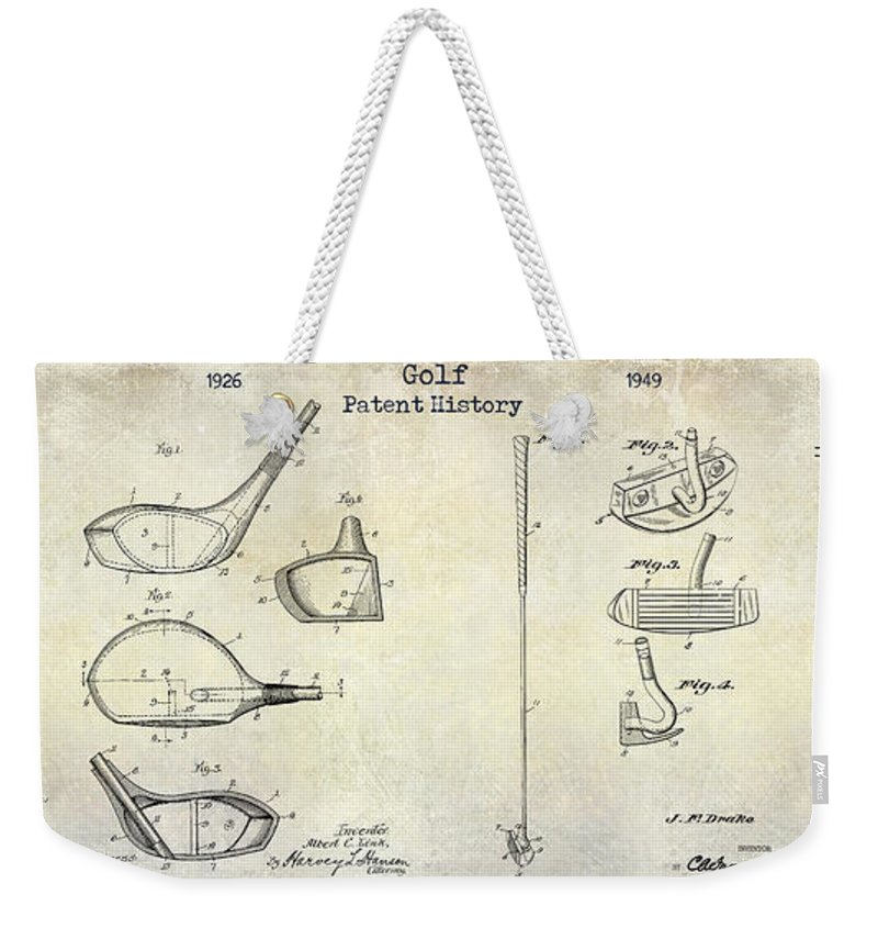 Golf Tee Weekender Tote Bag featuring the photograph Golf Patent History Drawing by Jon Neidert
