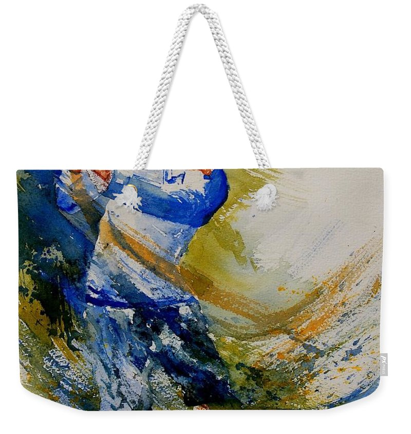 Golf Weekender Tote Bag featuring the painting Golf Player by Pol Ledent