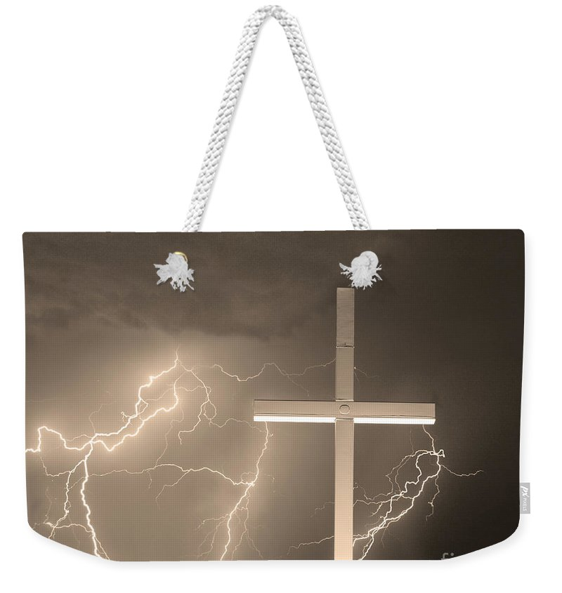 Lightning Weekender Tote Bag featuring the photograph Good Friday In Sepia by James BO Insogna