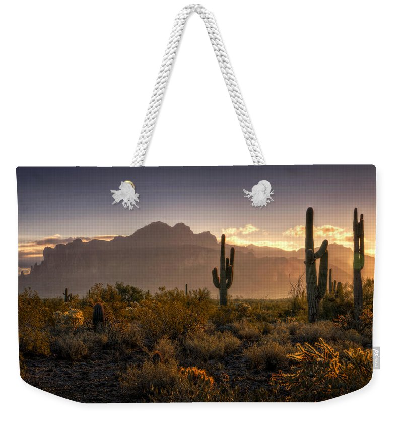 Sunrise Weekender Tote Bag featuring the photograph Good Morning Arizona by Saija Lehtonen