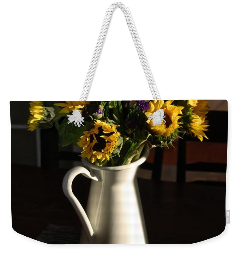 Sunflowers Weekender Tote Bag featuring the photograph Good Morning Light by Eric Tressler