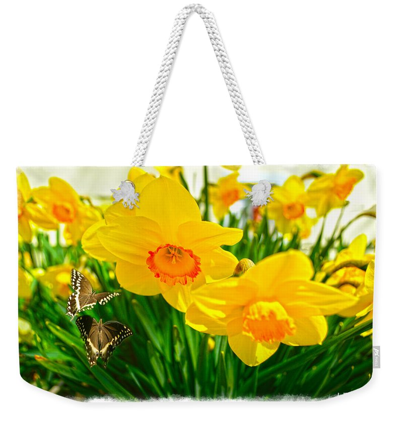 Flower Paintings Paintings Photographs Weekender Tote Bag featuring the photograph Good Morning by Mayhem Mediums